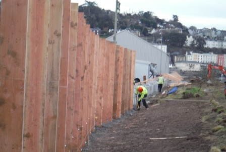Installation of construction hoarding along the western perimeter of the site.