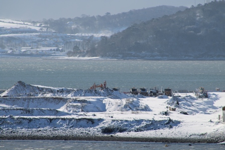 Haulbowline Island covered in light blanket of snow