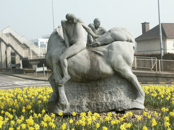 Horse and Riders Sculpture