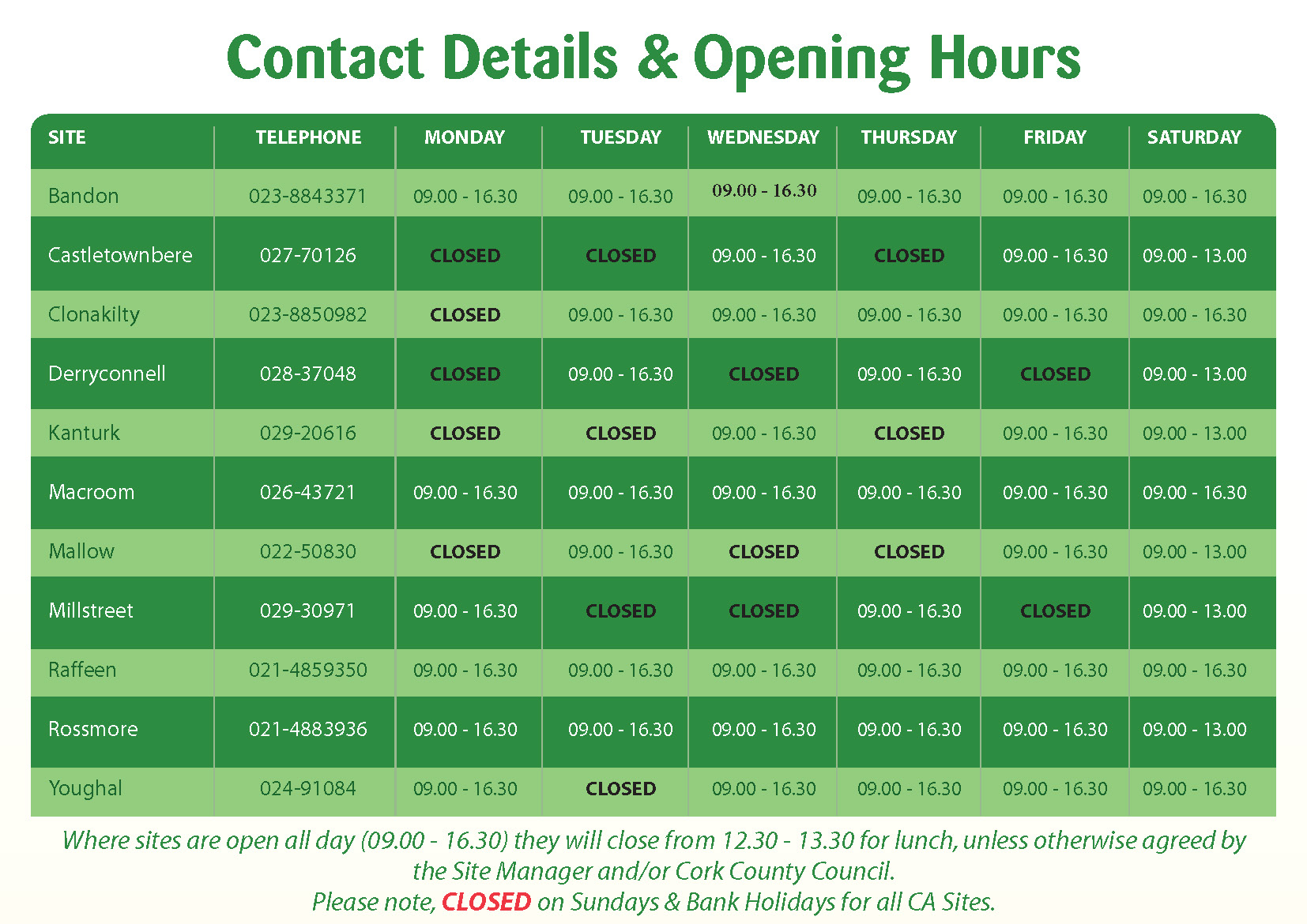 Civic Amenity Opening Times Table