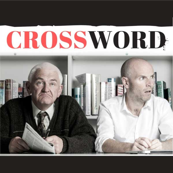 A podcast cover for Crossword An Audio Drama By Katie Holly Art it shows two bewildered looking men