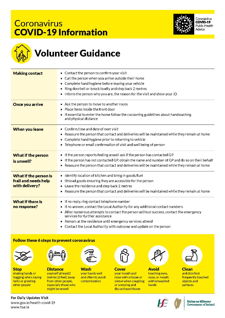 Department of Rural Community Development Covid-19 Local Authority Volunteer Guidance Flyer